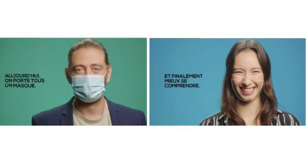 Un spot TV pour encourager le port du masque transparent